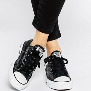 Converse All-Star Ox Black Sequin Chuck Taylor